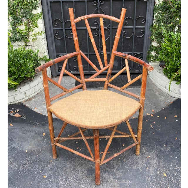 19th Century Rare Antique 19 C Bamboo Corner Chair For Sale - Image 5 of 5