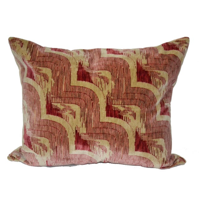 Incredibly Chic Art Deco style cotton blend velvet throw pillow from the famous Luigi Bevilacqua mill in Milan. This...