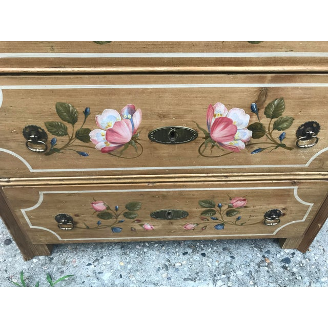 Wood Antique Dutch Folk Decorated Pine Chest For Sale - Image 7 of 12