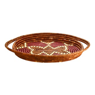 Hand Coiled Basket Tray For Sale