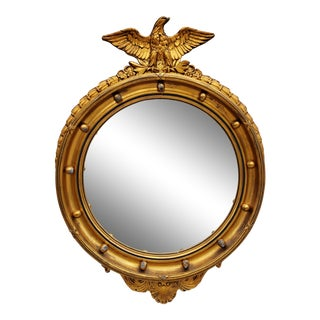 Antique Giltwood Federal Eagle Top Convex Mirror For Sale