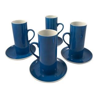 1970s Schmid Porcelain Espresso Cups, Saucers — Set / 4