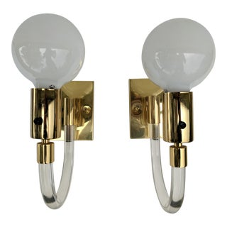 A Pair- Dorothy Thorpe Lucite and Brass Swing Wall Sconces For Sale