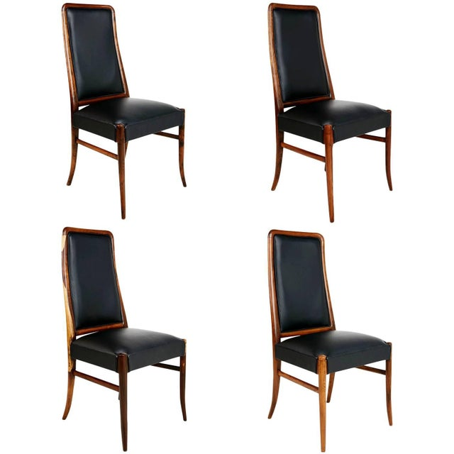 Exotic Jacaranda and Black Leather Dining Chairs, Set of Four, Brazil Circa 1970 For Sale - Image 11 of 11