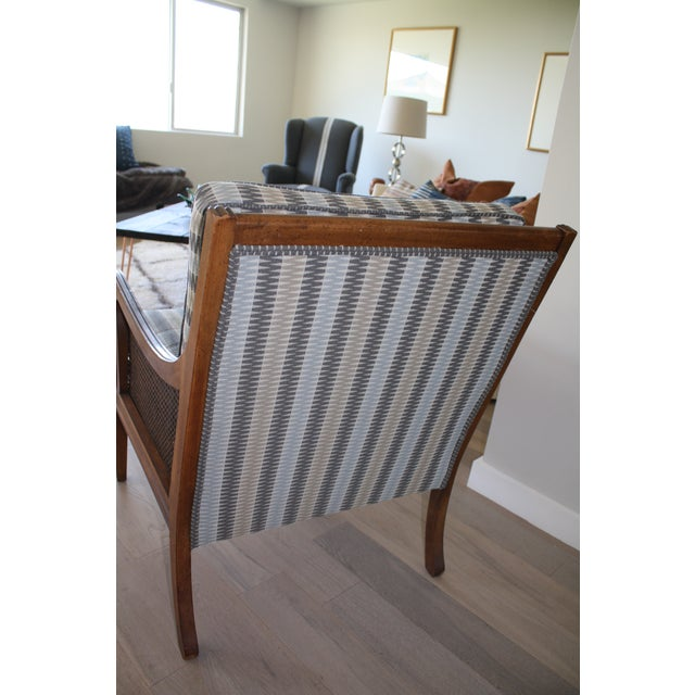 Mid-Century Newly Reupholstered Side Chair With Caning For Sale - Image 4 of 6