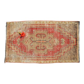 Distressed Low Pile Rug Turkish Yastik Small Rug Faded Colors Mat - 22'' X 38'' For Sale