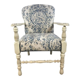 1930s French Country Blue/Cream Damask Upholstered Arm Chair