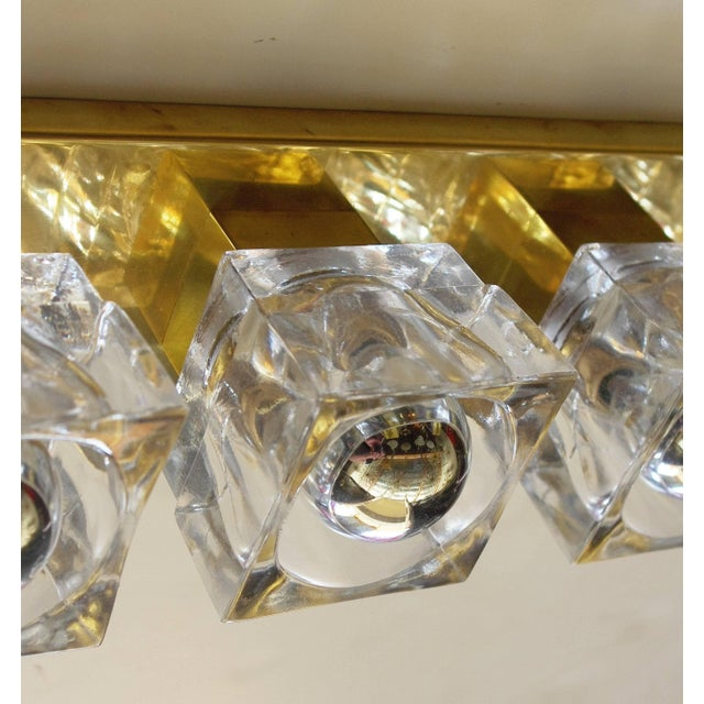Brass Murano Glass Cube Brass Sconces / Flush Mounts by Fabio Ltd For Sale - Image 8 of 11