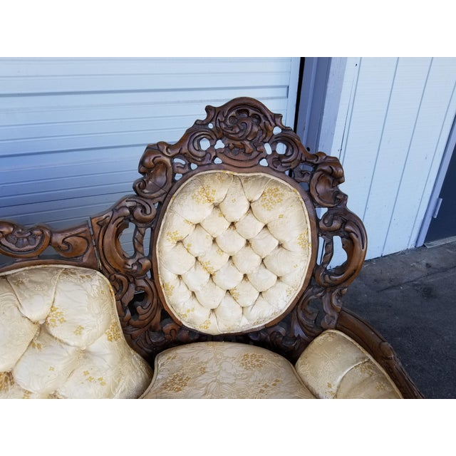 Fabric Vintage Victorian Carved Wood Sofa For Sale - Image 7 of 10