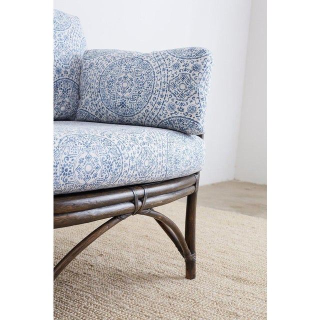 McGuire Blue and White Upholstered Bamboo Rattan Sofa For Sale - Image 9 of 12