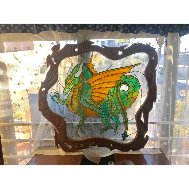 Dragon Stained Glass Panel Artist Signed With Wood Frame For Sale - Image 11 of 11