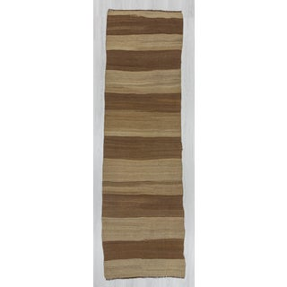 Turkish Kilim Brown Striped Runner Rug - 3′ × 9′10″ Preview