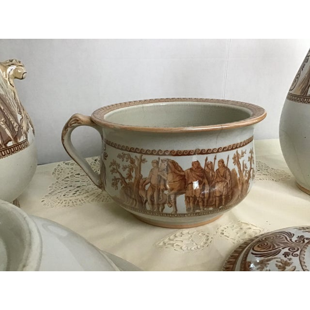 Brown 1800s Greek Roman Emperor Chamber Pot Pitcher Bathroom Set - 7 Pieces For Sale - Image 8 of 13