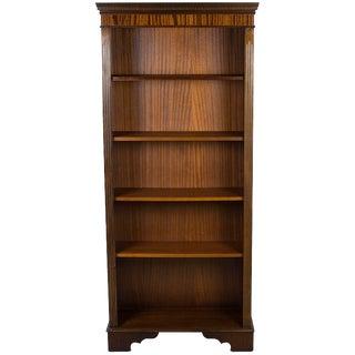 1980 English Traditional Tall Narrow Open Mahogany Bookcase For Sale