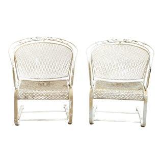 Vintage Mid Century Woodard Daisy Bouquet Barrel Back Bouncer Lounge Arm Chairs - a Pair For Sale