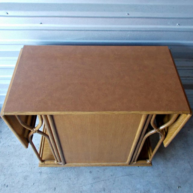 Vintage McGuire Rattan Drop Leaf Dry Bar/Bar Cart For Sale In Miami - Image 6 of 10