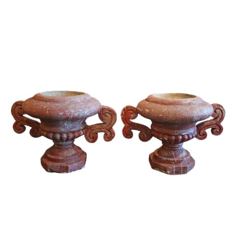 Early 20th Century French Red Cement Urns - A Pair For Sale