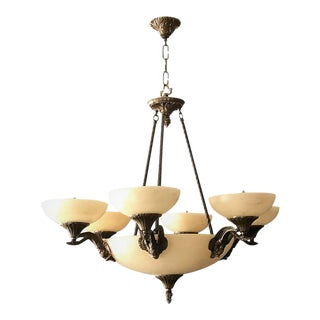 Art Nouveau Alabaster & Bronze Six-Arm Chandelier