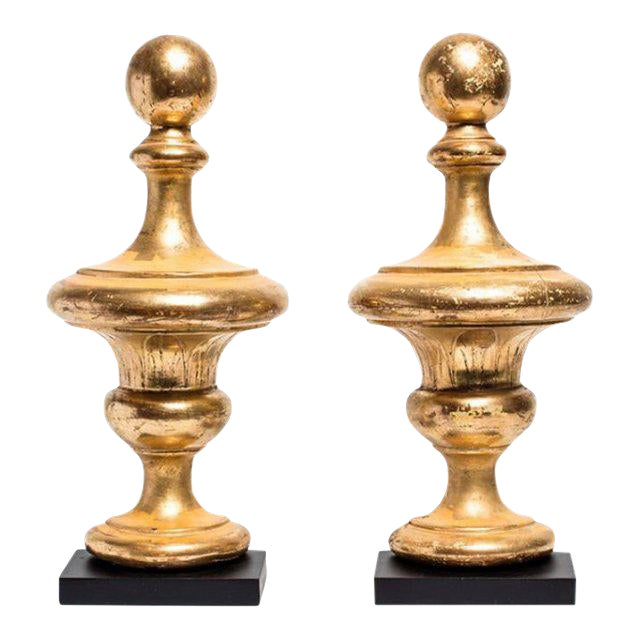 Antique 19th Century Carved Wood Gilded Vases - a Pair For Sale