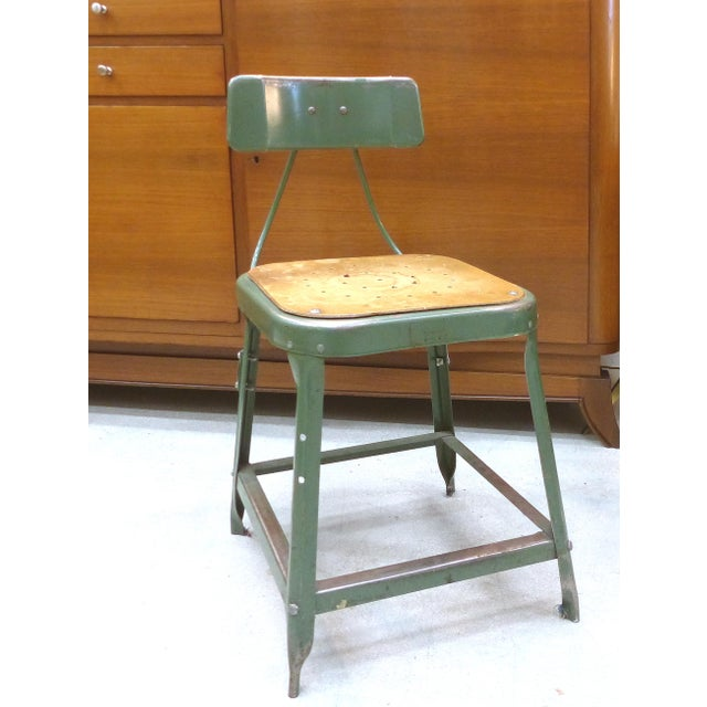 Industrial Metal Desk Chair For Sale - Image 5 of 10