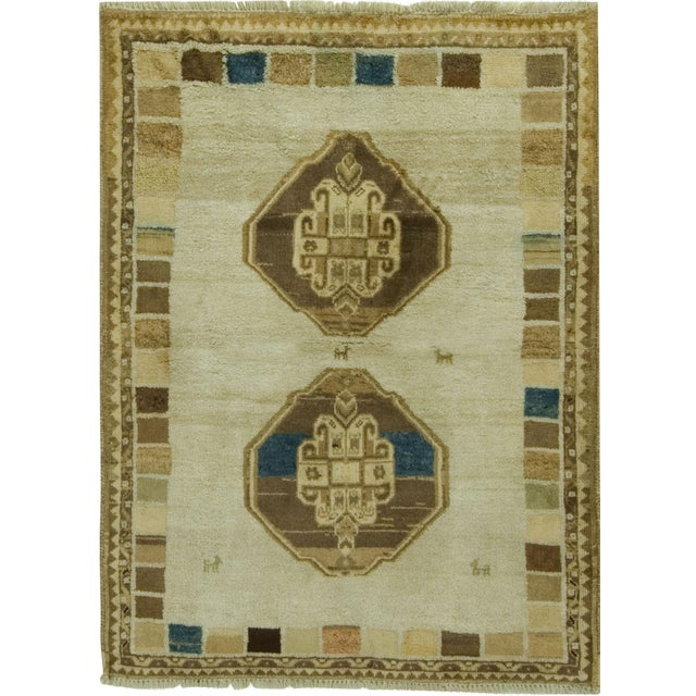 """Gabbeh Hand-Knotted Rug - 3'8"""" x 4'5"""" For Sale"""