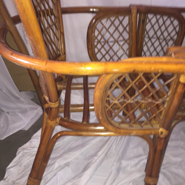 Chinoiserie Chinese Chippendale Rattan Chairs - a Pair - Image 8 of 11