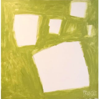 """Sarah Trundle """"Let Me Count the Ways: Shapes in Chartreuse"""" Original Abstract Painting For Sale"""