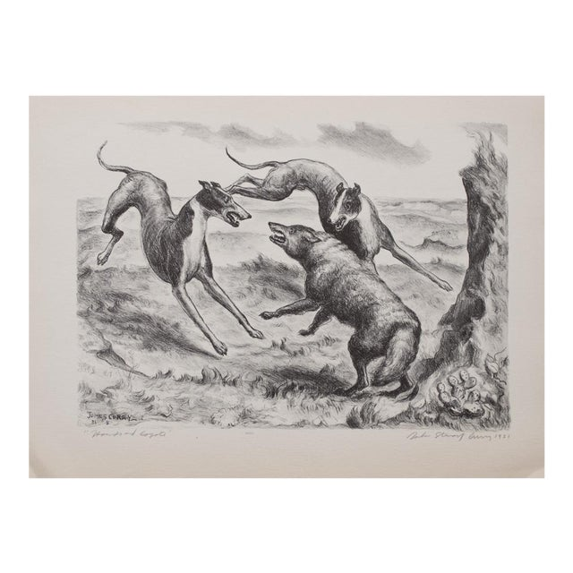 "1939 John Steuart Curry, Original Period ""Hounds and Coyote"" Photogravure For Sale"