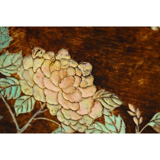 Lacquer Chinese Floral and Foliate Painted Relief Panel For Sale - Image 7 of 11