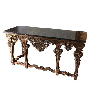Italian Marble and Gilded Wooden Console Table** For Sale