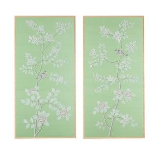 "Simon Paul Scott for Jardins en Fleur ""Stockwood Park"" Chinoiserie Hand-Painted Silk Diptych - a Pair For Sale"