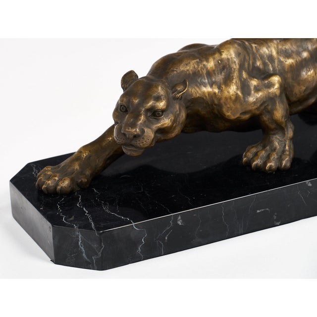 Bronze Vintage French Bronze Panther Sculpture For Sale - Image 7 of 10