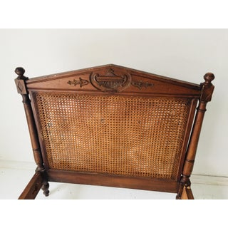 """Antique French Daybed in Walnut Double Urn-Carved and Double Sided Caning Needs Restoration 80""""l Preview"""