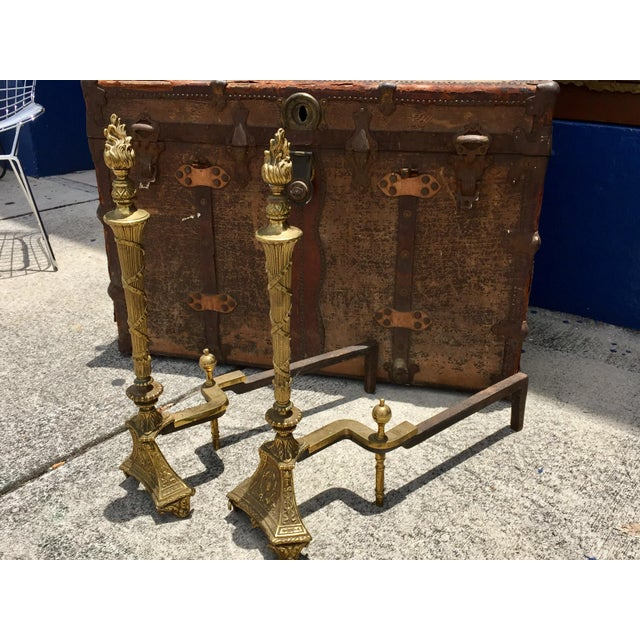 Antique Empire Brass Andirons - A Pair - Image 9 of 11