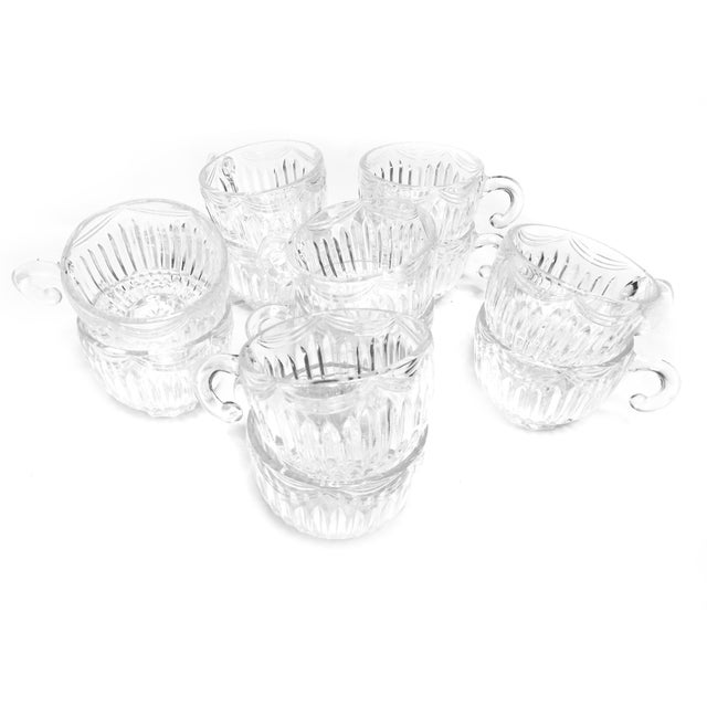 Vintage mid century 13 piece set of glass tea cups / punch cups and matching bowl in the Royal Drape Design by Lancaster...