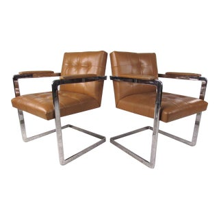 Pair Vintage Leather and Chrome Chairs For Sale