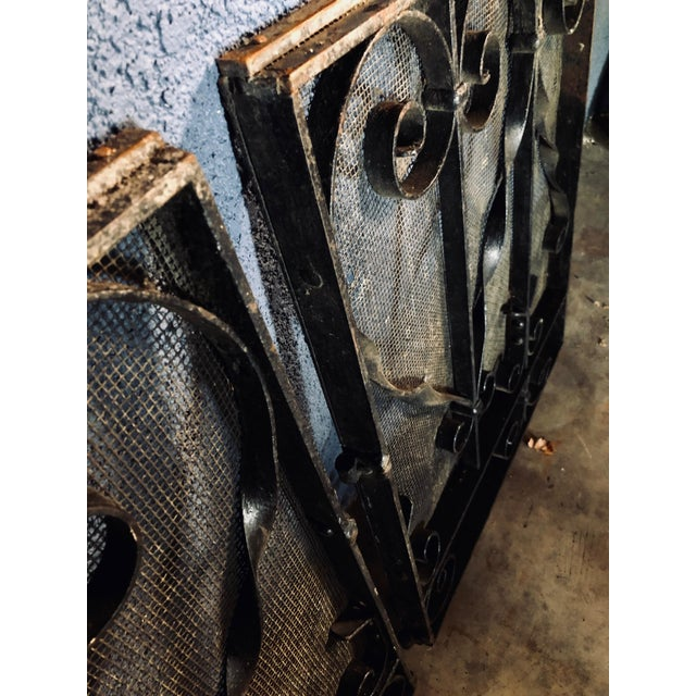 Antique Black Iron Fireplace Screens-A Pair For Sale In Sacramento - Image 6 of 10