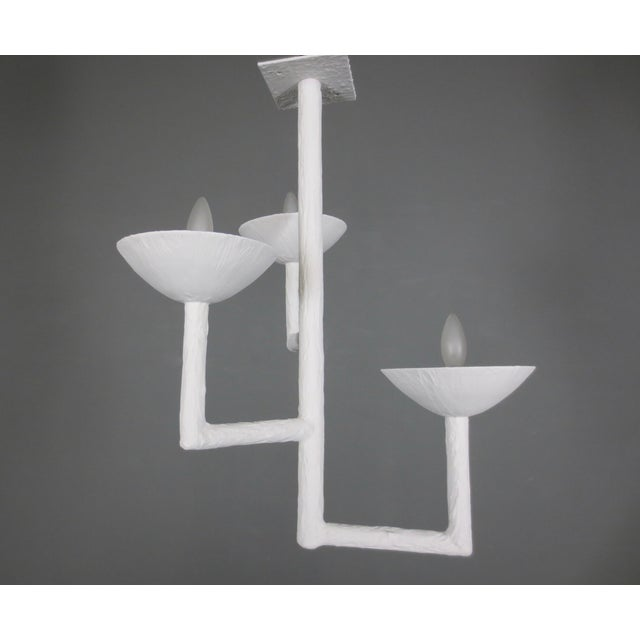 3 Cup Plaster Chandelier With White Finish For Sale - Image 9 of 9