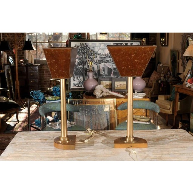 Mid-Century Modern Machine Age Tall Bronze Lamps - a Pair For Sale - Image 3 of 3