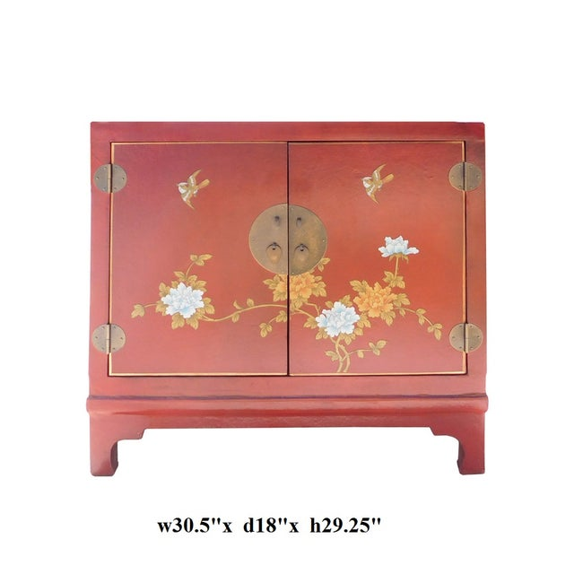 Oriental Red Vinyl Flower Side Table Cabinet - Image 7 of 7