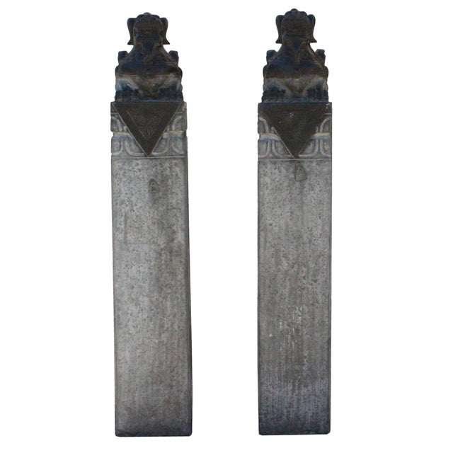 Chinese Pair Gray Black Color Stone Fengshui Pixiu Tall Slim Pole Statue For Sale In San Francisco - Image 6 of 11