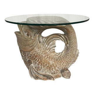 Asian Glass Top Carp Table