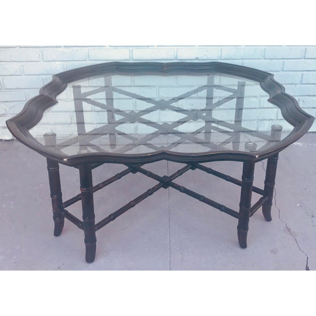1960s Traditional Baker Style Faux Bamboo Coffee Table With Detachable Glass Tray Top For Sale - Image 10 of 10