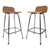 Image of Vintage Wicker Counter Stools For Sale