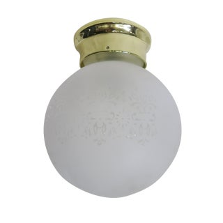 Satin Floral Glass Sphere Ceiling Glass Globe Pendant For Sale