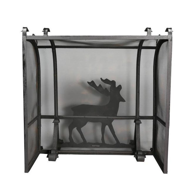 Metal Arts and Crafts Wrought Iron Fireplace Screen For Sale - Image 7 of 9