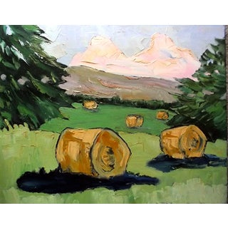 Lynne French Plein Air Farm Meadows and Baled Hay Painting For Sale