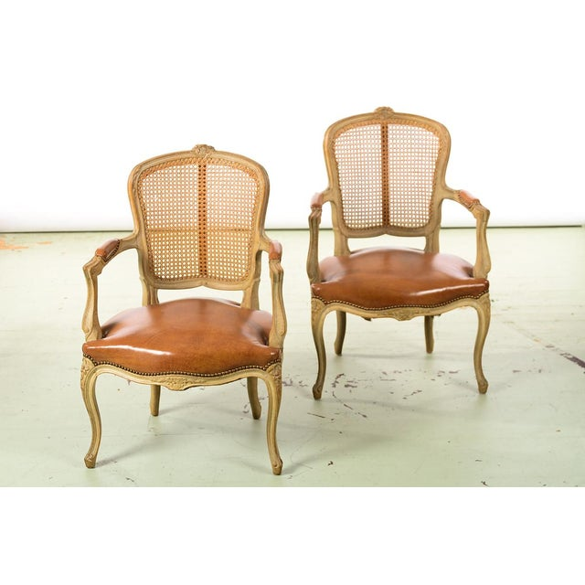 Louis xv style cane back fauteuil chairs w beautiful leather seats a pair