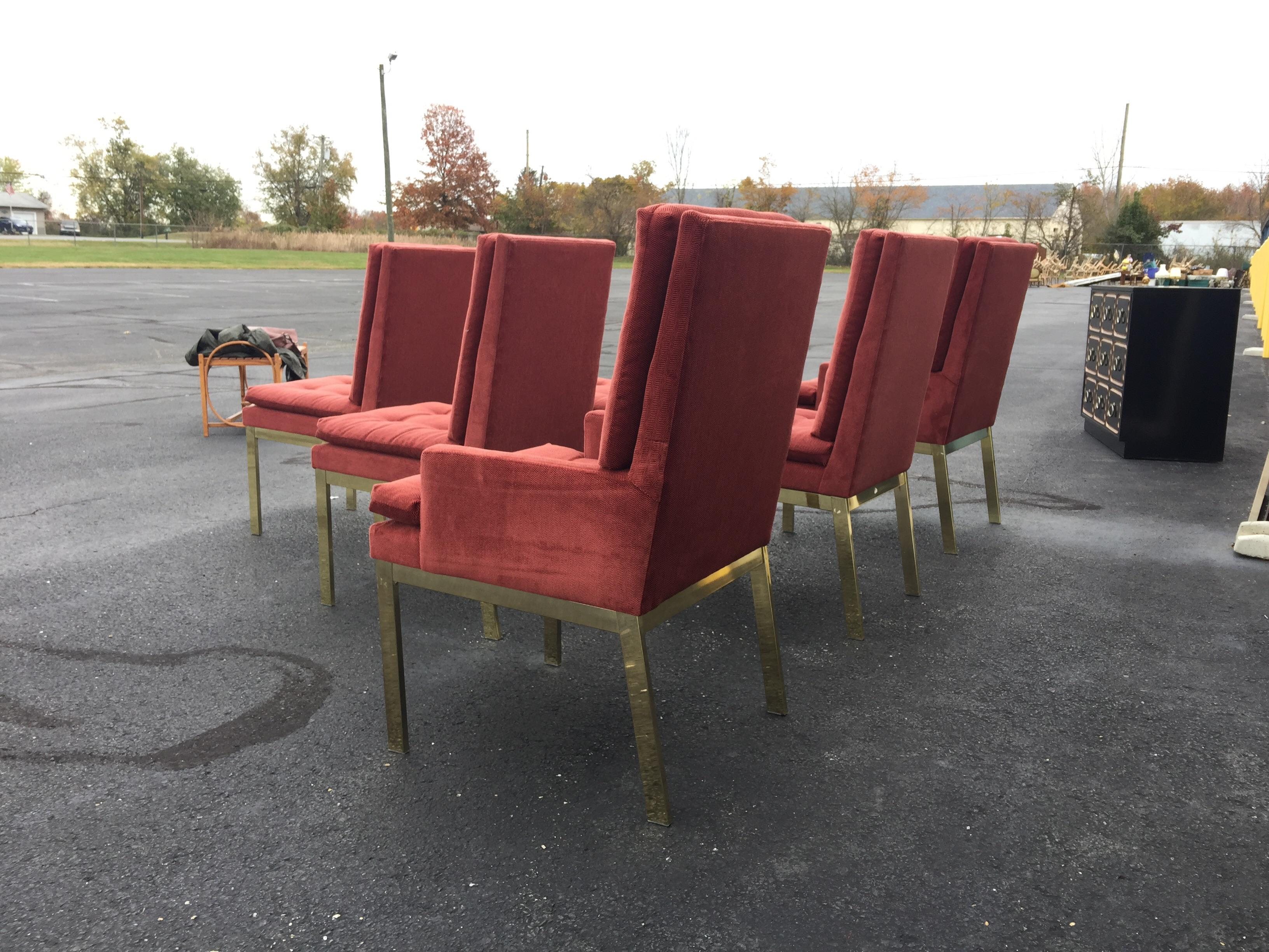 Genial Milo Baughman Brass Parsons Dining Chairs   Set Of 6   Image 4 Of 8