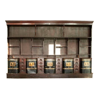 Rare Antique Tea Shop Counter/Huge Display Cabinet With Metal Bins, London, England For Sale
